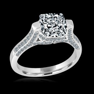 4CT. (9.5x9.5mm) Radiant Cushion Tension style Set Simulated Diamond - Diamond Veneer Sterling Silver Rhodium engagement Ring. 635R71495 for Sale in San Francisco, CA