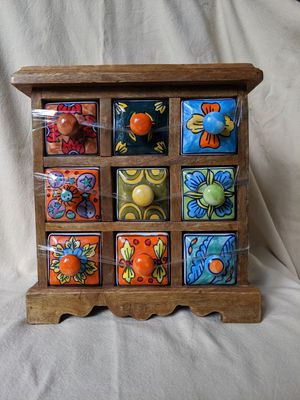 Hand Painted Ceramic And Wood Storage Chest Nine Drawer Ceramic Spice Chest for Sale in Alpharetta, GA