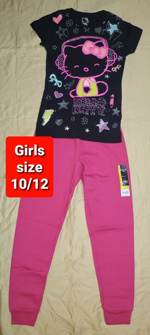Girls size 10 / 12 Clothes Black Hello Kitty Shirt with Pink Sweatpants (#477) for Sale in Mesa, AZ