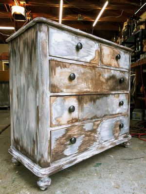 """Rustic Boho Neutral Chest of Drawers! 40""""W x 19"""" D x 37.5""""H SOLID WOOD! Metalic Knobs! One of a kind unique creation! Very sturdy! for Sale in Joliet, IL"""