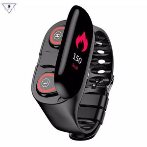 M1 Bluetooth Fitness Bracelet With Tws Headphone Heart Rate Monitor Stereo Earbud Headset Fitness Heart Rate Monitor Wristband for Sale in Bell, CA