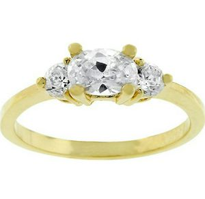 18k Gold Plated Triplet Engagement Ring with Clear Cubic Zirconia for Sale in Wichita, KS