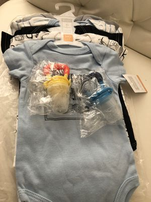 Hudson Baby onesies & food feeder pacifier/teething toy for Sale in Lutherville-Timonium, MD