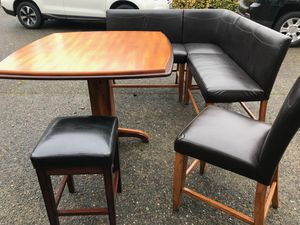 High Table Kitchen Set with Benches and Chairs Leather - Very Good Condition for Sale in Maple Valley, WA