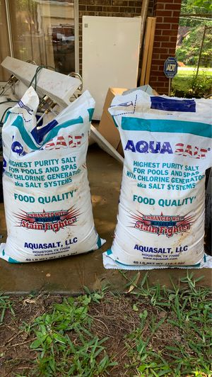 Two 40-pound AquaSalt high purity salt for pools and spas for Sale in Riverdale, GA