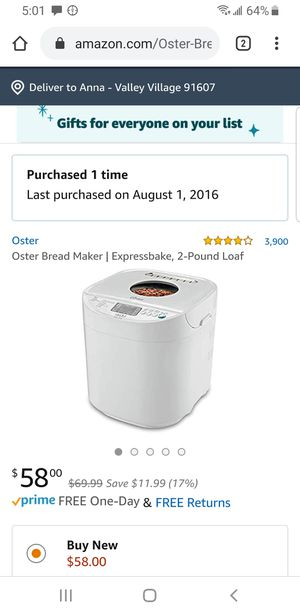 Oster bread maker for Sale in Los Angeles, CA