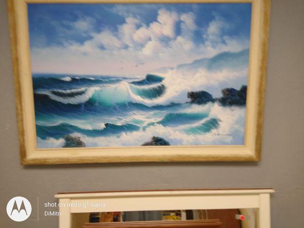 """Ocean oil painting framed, 41""""w x 29"""" h"""