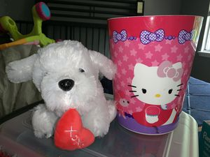 Hello kitty garbage can/ stuffed dog for Sale in Aloha, OR