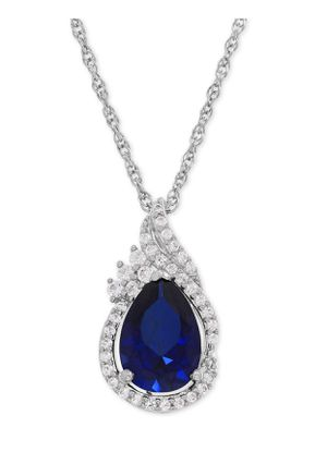 Lab-Created Sapphire (2-3/8 ct. t.w.) and White Sapphire (1/4 ct. t.w.) Teardrop Pendant Necklace in Sterling Silver for Sale in Queens, NY