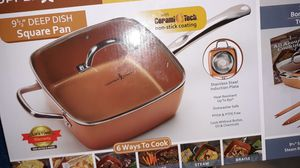 The copper Chef 9 and 1/2 inch deep dish square pan for sale for Sale in Houston, TX