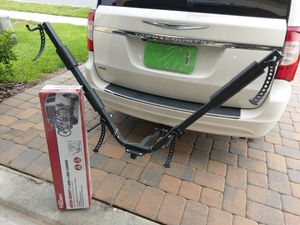 Bike Carrier Rack for up to two bikes, used twice with Box and hitch adapters for Sale in Davenport, FL