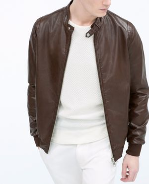 Used, Brown red leather jacket Zara man originally bought for $119 for Sale for sale  Brooklyn, NY
