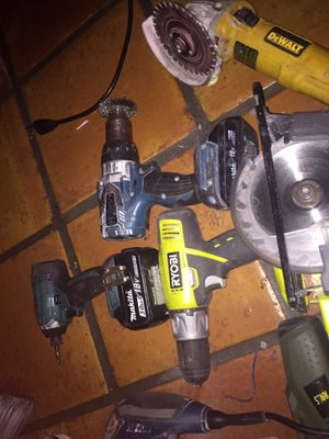 Power tools ... 250 take it all makita impact and drill with charger Ryobi saw with drill two sanders dewalt grinder and power drill stark nail gun for Sale in Miami, FL