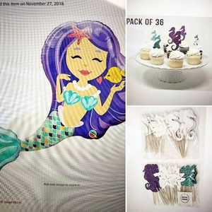 "Mermaid party mylar 38"" Balloon and 36 cupcake toppers for Sale in Imperial, CA"