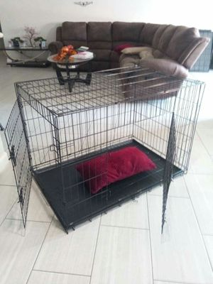 Dog cage kennel crate New never used X large foldable double door jaulas Phoenix for Sale in Phoenix, AZ