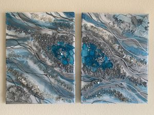 2 piece 12x16 Geode Resin Painting for Sale in Conway, AR