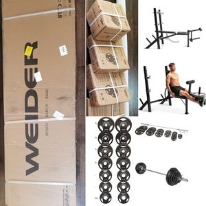BRAND NEW Weider Lagecy Olympic Bench & 300LB OLYMPIC WEIGHT SET+7FT OLYMPIC BAR/ BARBELL& CLIP 100% CAST IRON PLATE for Sale in Lake Elsinore, CA