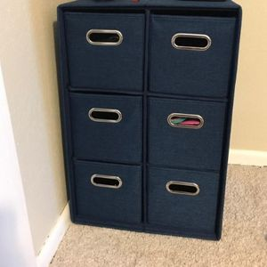 """Foldable Fabric Storage Bins & Shelf Set of 6 Cubby Cubes with Handles Navy Blue📦 Brand New In Box 🚚 FREE Shipping with Tracking 🛒 Click """"Buy No for Sale in Jersey City, NJ"""