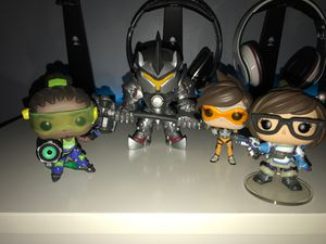 Overwatch Funko Pops. Lucio, Reinhardt, Tracer, and Mei. Sold together for Sale in Alexandria, VA