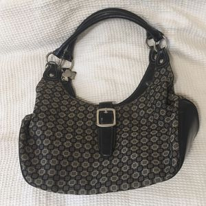 Vintage Ninewest favorite geometric monogram design black leather hobo tote bag shoes heart charm keychain for Sale in Chula Vista, CA