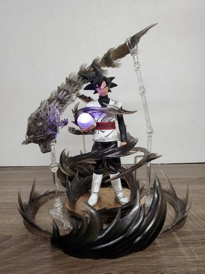 Japanese anime dragon ball super black goku limited hand special paint with special effects parts purple LED light ball figure toys 9 inches for Sale in San Gabriel, CA