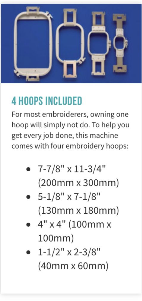 Multi needle, Baby Lock Embroidery Machine with hoops