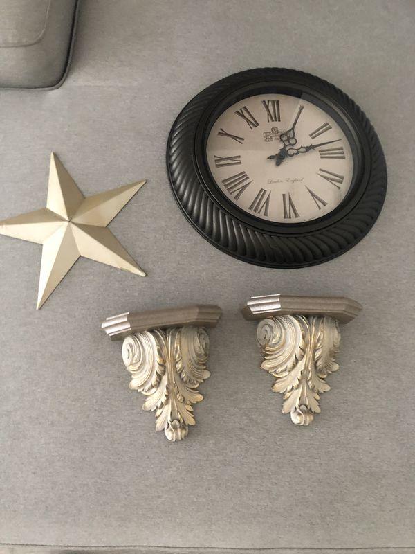 Gold house decor: clock, wall shelves $15