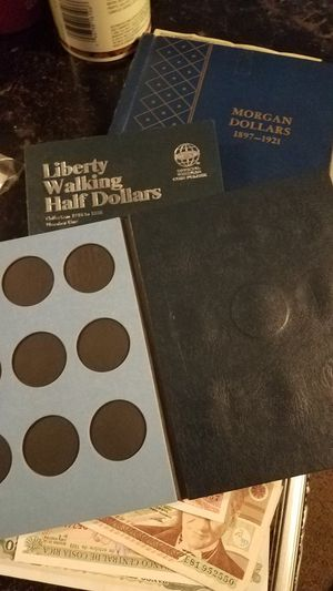 walking liberty half dollar album Morgan silver foreign paper currency coins for Sale in Clarksville, TN