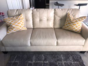 Off White Leather Sofa for Sale in Tempe, AZ