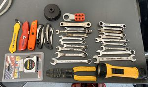 Wrenches Hand tools pocket knifes oil filter opener wire cutter flashlight tape measure craftsman for Sale in Simpsonville, SC