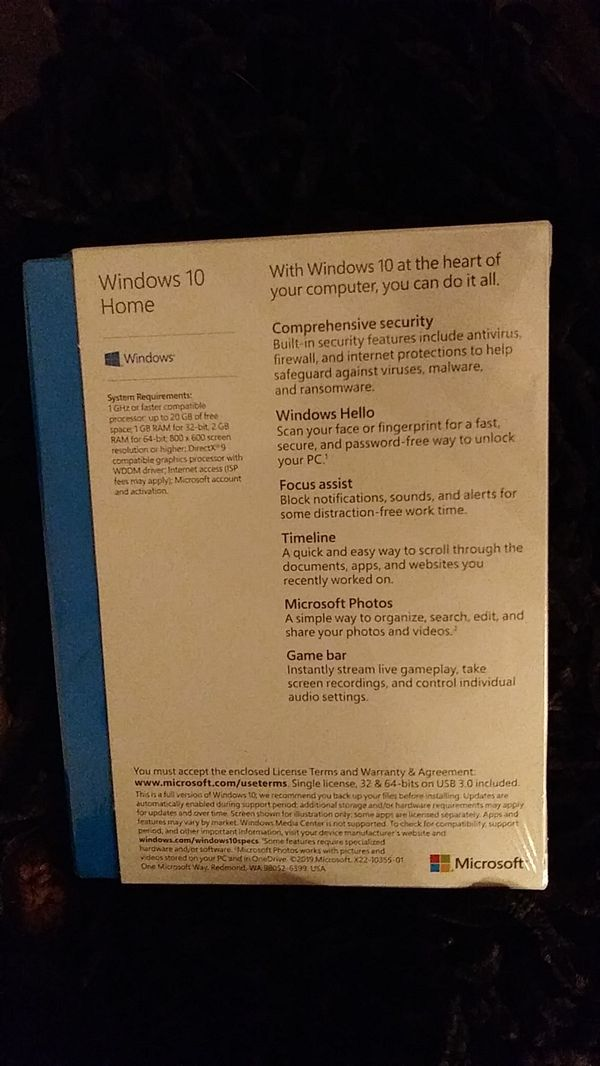 Windows 10 home software brand new unopened shrink wrap plastic still on it