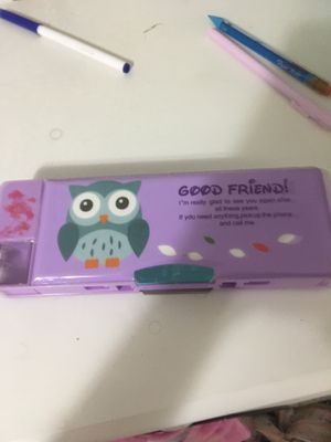 Cute owl pencil / pen box with stand for Sale in Kansas City, MO