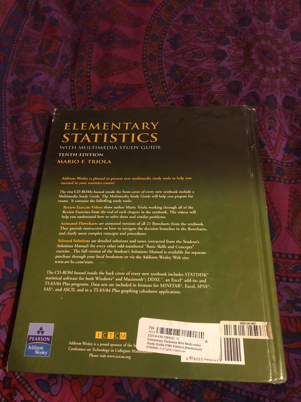 Elementary Statistics- 10th edition- Mario Triola for Sale in Royal Palm  Beach, FL - OfferUp