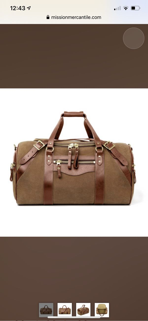 White wing waved canvas vast duffle bag