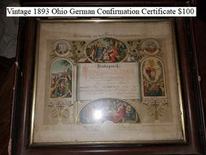 Vintage 1893 Ohio German Confirmation Certificate $100 for Sale in Dresden, OH