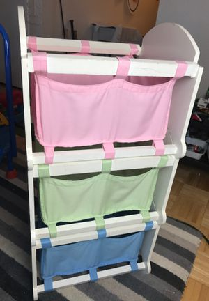 Sturdy solid wood stackable storage containers pretty colors pink green and blue for Sale in Springfield, VA
