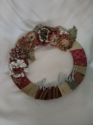 "14"" handcrafted wreath dark reds and tans for Sale in Biddeford, ME"