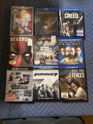Blu-Ray DVD for sale - great titles - $7 each bluray movies please read list of movie's - 6 for $35 for Sale in Bloomington, CA