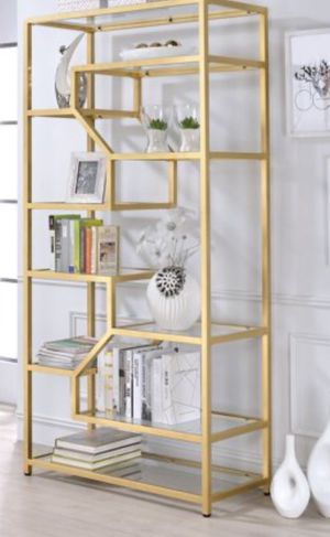 New!! Bookcase, bookshelves, organizer, 10 fixed shelves metal and glass bookcase,,storage unit, living room furniture, entrance furniture , gold for Sale in Phoenix, AZ
