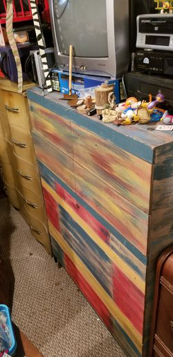 cedar wood Dresser handpainted like a rainbow eucalyptus tree for Sale in Davenport,  IA