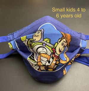 Handmade Toy Story Woody & Buzz Small kids face mask fits 4 to 6 years old with Adjustable ear straps and nose wire for Sale in Fontana, CA