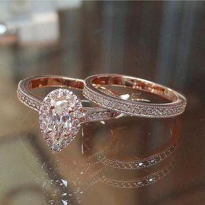 Luxury Sparkling Pear Shape 14K Rose Gold CZ 2PCs Engagement Wedding Ring Set Size 6-7-8 for Sale in Houston, TX