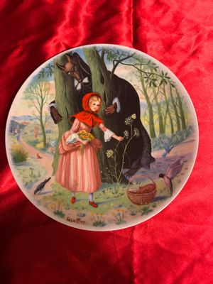 Red riding hood and jack and the bean stalk limited edition plates for Sale for sale  Valley Center, CA