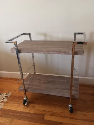 Wayfair rolling bar cart. Grey wood finish with chrome accents for Sale in Alexandria, VA