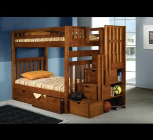 REVERSIBLE Solid Wood with STAIRWAY Bunkbed w/STORAGE! Twin over twin with Extra Storage on Stairs and Under the Bed!! for Sale in Queens, NY