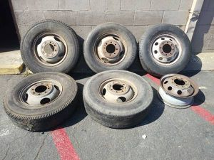 Six steel dually rims 16 inch. 8 on 6.5 lugs fits ford, dodge, Chevy for Sale in Pico Rivera, CA