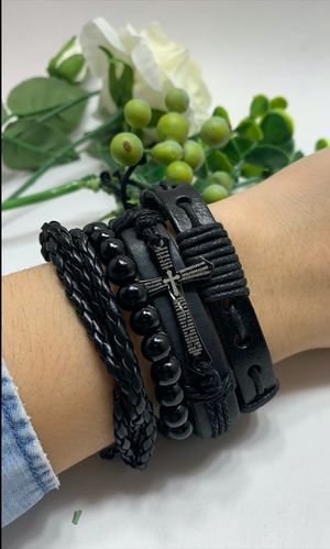 Braided Multi-layer Leather Bracelet (Set of 4), Cross for Sale in Tustin, CA