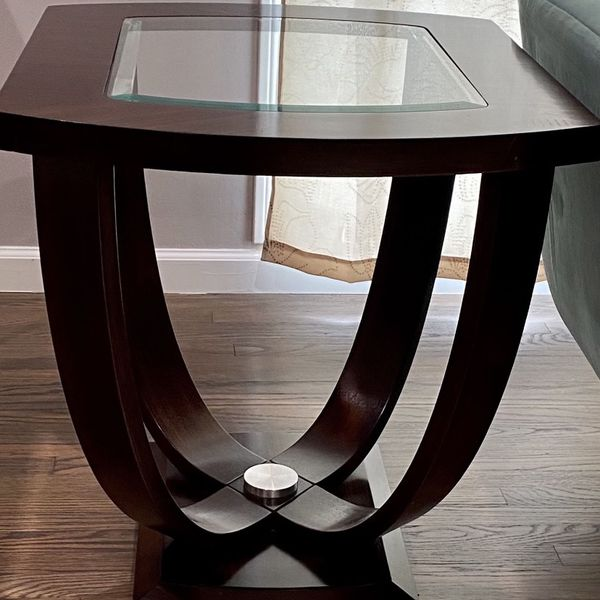 Stylish And Elegant - Wood & Glass End Tables (2)