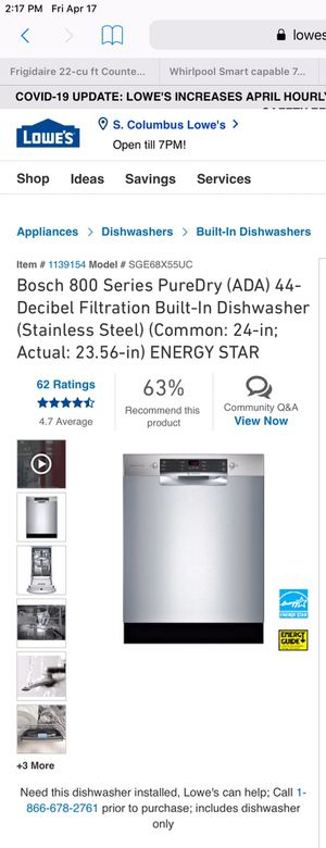 Bosch dishwasher $575 by appointment for Sale in Grove City, OH