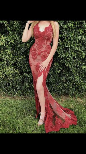 Red Lace Beaded Mermaid Tale Prom Dress with built in Corset (zip up) CUSTOM MADE for Sale in Pomona, CA